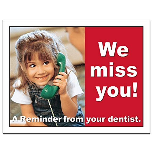 Laser Reminder Postcards, Dental Appointment Reminder Postcards. 4 Cards Perforated for Tear-Off at 4.25'' x 5.5'' on an 8.5'' x 11'' Sheet of 8 Pt Card Stock. DEN103-LZS (1000) by Custom Recall (Image #2)