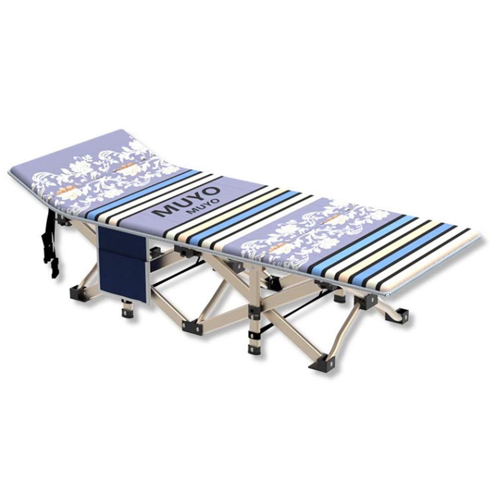 Klappbett Leichte faltbare Aluminium-Campingbetten for Camping im Freien Single Camp Portable Mehrzweck-Klappbett Geeignet für Erwachsene, die viel Platz mögen. ( Farbe : Blau , Größe : 186*71*35cm )