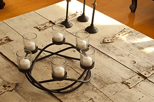 Round Black Wroght Iron Waves Candleholder/ Centerpiece