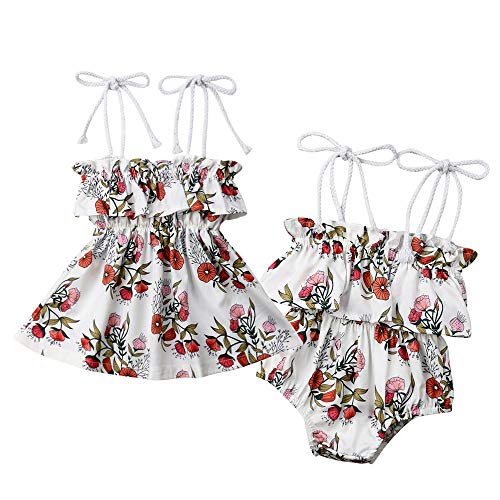 Infant Toddler Baby Girls Big Little Sister Matching Outfits Flower Print Tutu Dress +Romper Bodysuit Summer Clothes Set (Little Sister Romper, 0-6 Months)]()