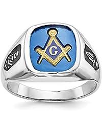Solid 14K White Gold Mens Masonic Ring