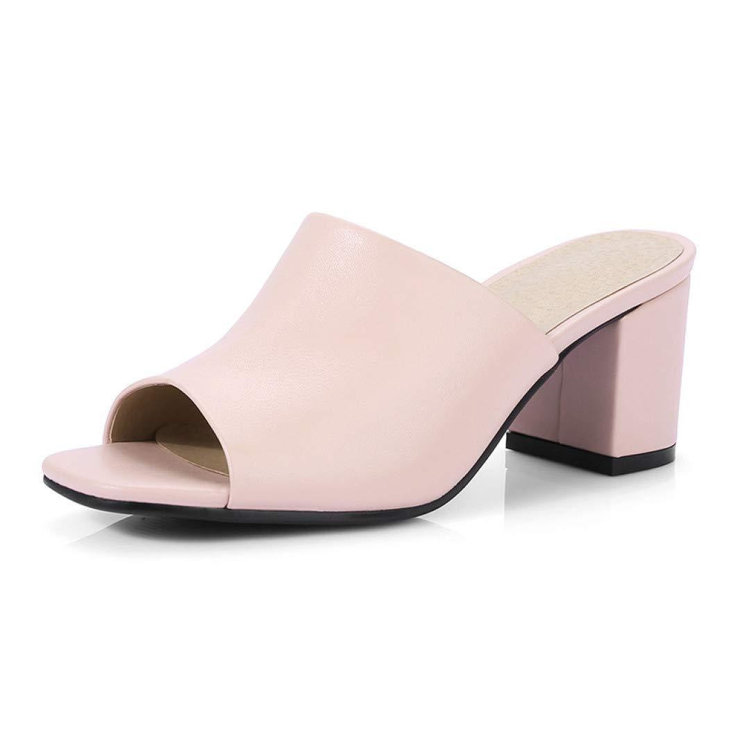 ea86aacc06f04 Amazon.com | Women Genuine Leather Slipper Lady Open Toe Party Slip ...