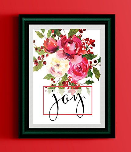 Joy Holly - Joy Poster Watercolor Holly Red Floral Bouquet Black Typography