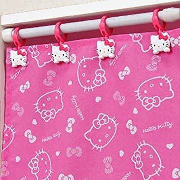 Hello Kitty Curtain Clips(4Hooks) Shower Holder Rod Drapery Hooks Rings Bathing Bathroom