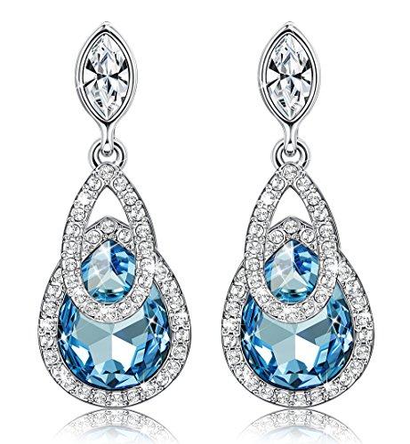 Sllaiss Blue Teardrop Dangle Earrings for Women Swarovski Crystals Earrings Jewelry Gift for (Blue Teardrop Earring)