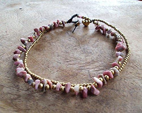 Rhodonite anklets,stone anklets,brass anklets,women anklets,pink anklets