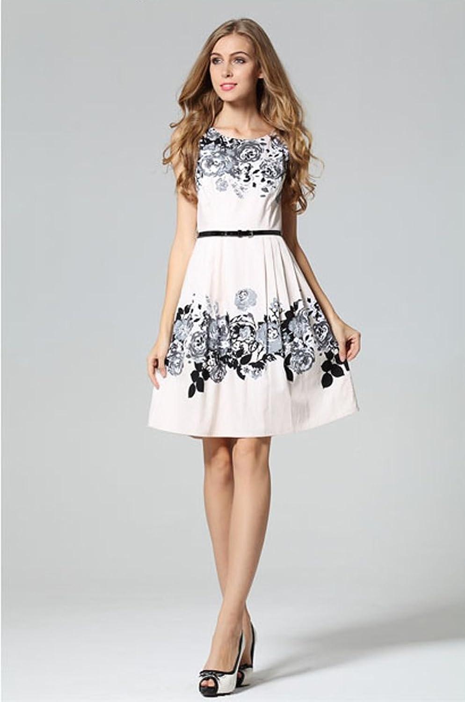 Purpura Erizo Womens Sleeveless High Waist Optical Illusion White Slim Dress