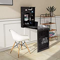 Description:       An idealsolution for any limited space area room, this painted coffee writing deskfolds away neat and compact. You can pull it down when you need to work andfold up to put away when not being actively used. It has ju...