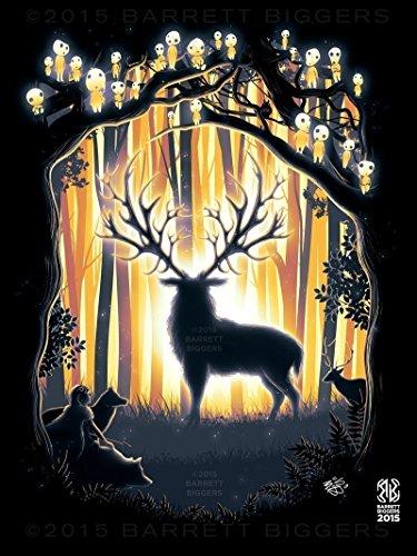 oke Hime Minimal Deer God Forest Painting Giclèe Print ()