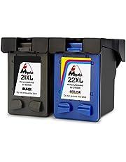 Mipelo Remanufactured HP 21XL 22XL Cartouches d'encre (1 Noir, 1 Tricolore) Compatible avec HP Deskjet F4180 F2180 F2280 F2290 F380 F335 F390, HP Officejet 4315 4355 Imprimante