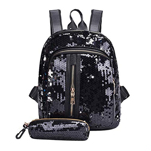 Women Teen Backpack Lightweight Bling PU Satchel Girls For Travel Javpoo Sequins Bag Leather Case Black Backpack School Pencil aqz6z4w