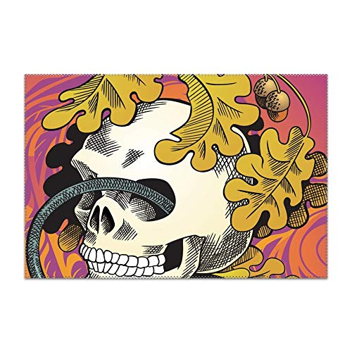 (Human Skull Entwined by Snake Placemats for Dining Table Cotton Washable Table Mats 12