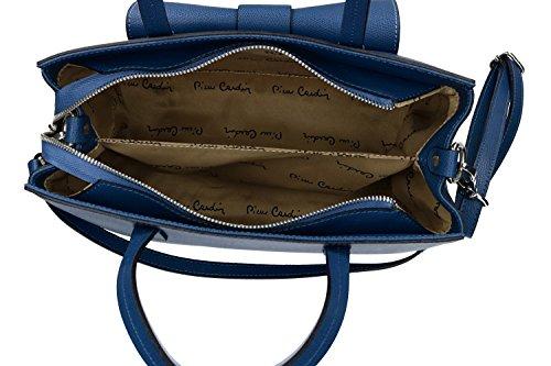 Borsa donna a mano con tracolla PIERRE CARDIN blu pelle Made in Italy VN1473
