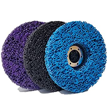 "M-jump 3 PCS 4-1/2"" x 7/8"" Black/Blue/Purple Stripping Wheel Strip Discs for Angle Grinders Clean & Remove Paint, Coating, Rust and Oxidation for Wood Metal Fiberglass Work"