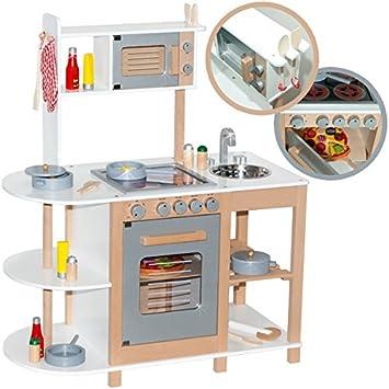 Kinderküche Aus Holz (Weiß Silber) Spielküche Für Kinder