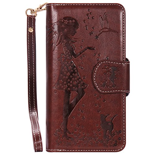 Meet de brun (Papillon - Filles) gaufrage pour Apple iphone 7 Plus Cas de téléphone, Apple iphone 7 Plus Case, Apple iphone 7 Plus Étui à rabat Coque, Apple iphone 7 Plus Housse en cuir, Apple iphone