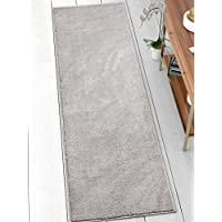 Drexel Shimmer Light Grey Solid Color Plain Microfiber 2x7 (23 x 73 Runner) Area Rug Ultra Soft Carpet