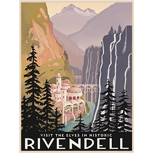 Rivendell Lord of the Rings Wall Decal 9 x 12 Home Theater Decor (Lord Of The Rings Trilogy In Theaters)