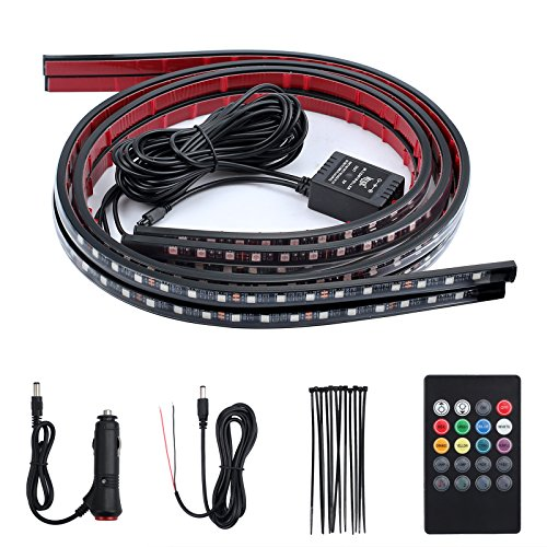 Justech 4PCS 8 Colors Car LED Neon Undercar Glow light 12V RGB Underglow Atmosphere Decorative Bar Lights Kit Strip with Sound Active and Wireless Remote Control for Car Bumper Car Interior - Underglow Neon Lights