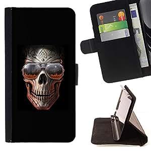 Momo Phone Case / Flip Funda de Cuero Case Cover - Roca Cráneo Negro Sombras frío metal Infierno - Samsung Galaxy A3