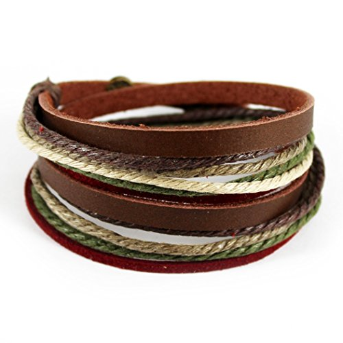 [MORE FUN Charm Mens Womens Genuine Leather Bangle Colorful Multilayer Rope Wristband Wrap Bracelet with Snap Button] (His And Her Costumes 2016)