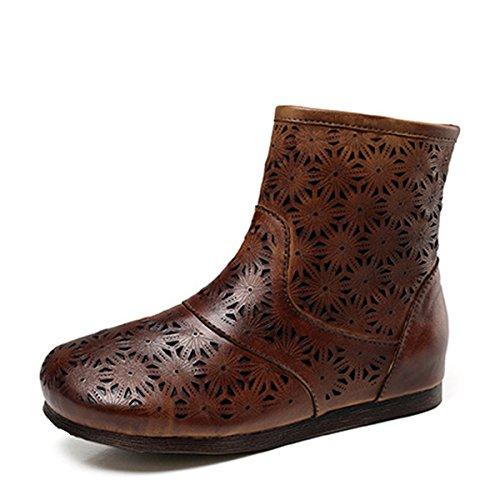 Damen Damen Herbst Winter Leder Flach Geschnitzt Erhöhen Reißverschluss Stiefeletten Schuhe Modische Retro Freizeit Große Größe 35-40 OneColor
