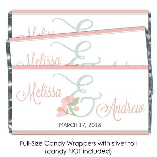 Floral Wedding Candy Bar Wrappers or Bridal Shower Candy Wrappers, Full Size Wrappers, Custom Party Favors, Custom Wedding Favors (100 count)