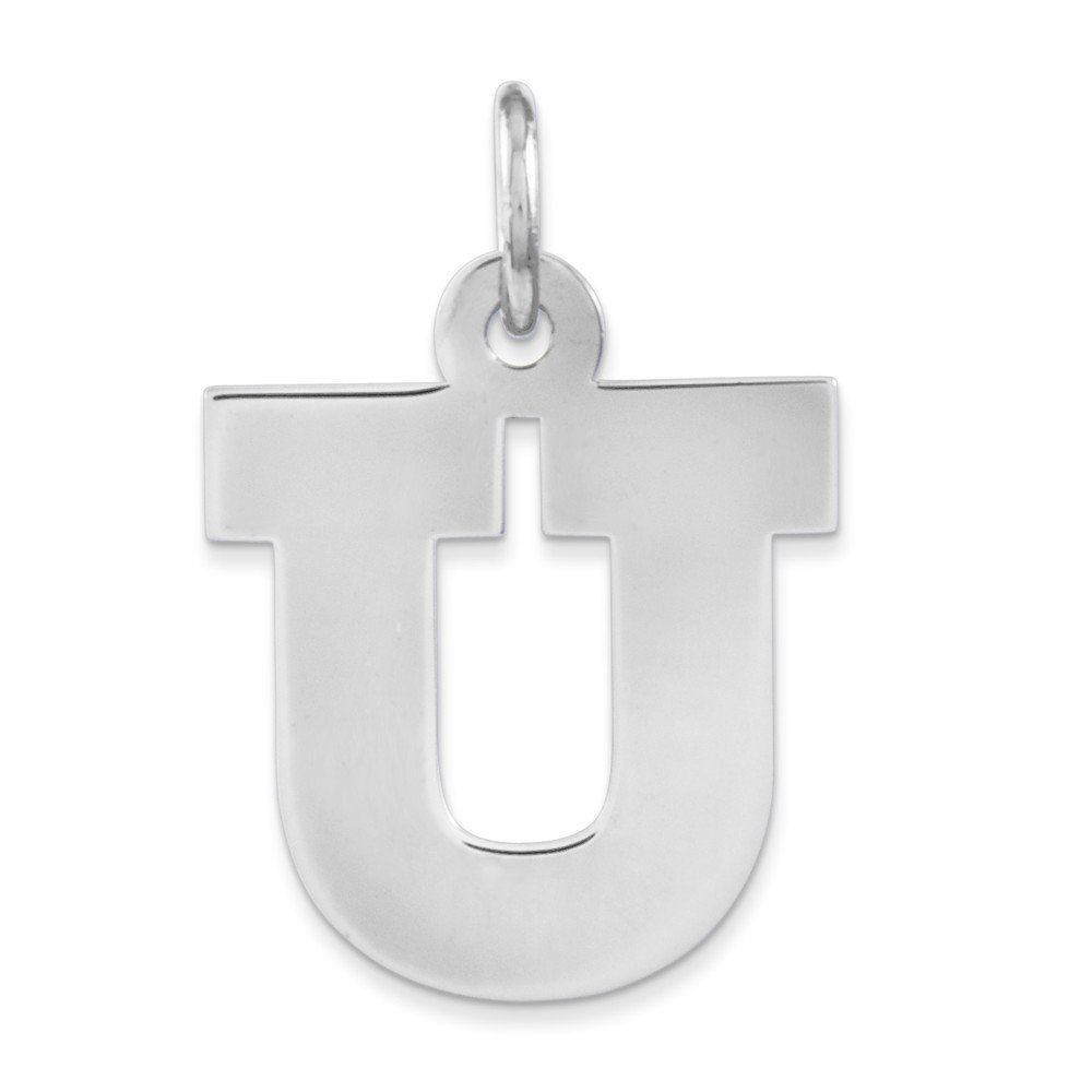 Sterling Silver Medium Block Initial U Charm