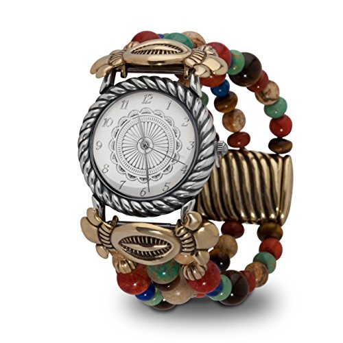 Sterling Silver Mixed Metal Watch with Earth Tone Beaded Band, Small