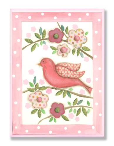 The Kids Room By Stupell Border Wall Plaque, Pink Bird On Branch With Polka Dot Kids Room Décor And Wall Art