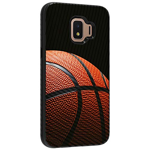 (TurtleArmor | Compatible with Samsung Galaxy J2 Core Case | J2 Dash Case | J2 Pure Case | Hard Shell Engraved Grooves Hybrid Fitted TPU Case Sports and Games Design - Basketball Seams )