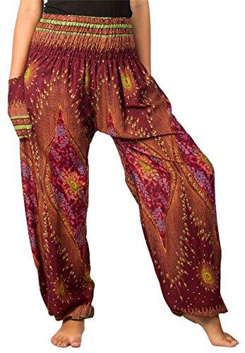 Lofbaz Women's Smocked Waist Diamond Yoga Harem Pants Maroon 3XL