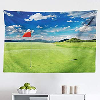 Lunarable Sports Tapestry, Golf Field with Flag in The Hole Clouds Sky Summertime Golfing Landscape, Fabric Wall Hanging Decor for Bedroom Living Room Dorm, 45