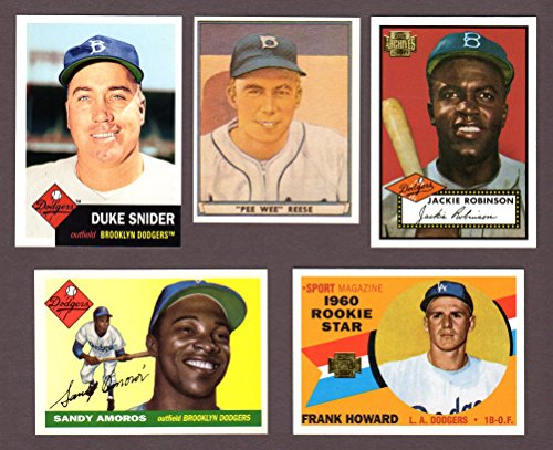 Dodgers (5) Card Heros and Hall of Famer Vintage Baseball REPRINT Lot #56 (Pee Wee Reese) (Jackie Robinson) (Duke...