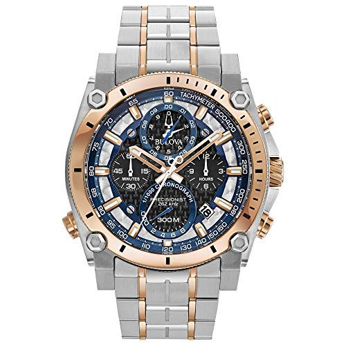 Bulova 98B317 Precisionist Men's Watch Silver/Rose Gold Stainless ()