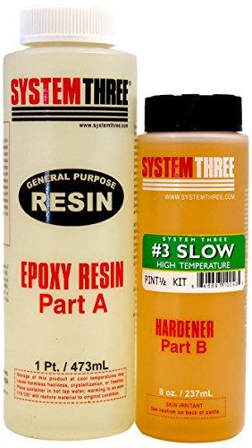 System Three 0103K40 Dark Amber General Purpose Epoxy Kit with #3 Slow Hardener, 1.5 pint Bottle