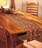 "Harvest Leaves Table Decor decorates your tablescape with shades of orange, red and green. Tapestry Table Runner (13""W x 72""L) feature a tree design. Cotton & Polyester. •Dancing leaves design accents your table with autumn colors •Detail..."