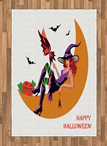 Lunarable Witch Area Rug, Sexy Witchy Woman on The Moon Flying Bats Spider and Pumpkin Happy Halloween Fantasy, Flat Woven Accent Rug for Living Room Bedroom Dining Room, 4 X 5.7 FT, Multicolor