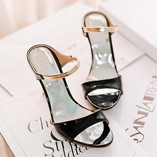 Zanpa Zapatos Mujer Tacon Fiesta Negro