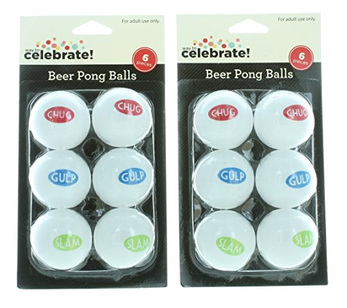 Beer Pong Sayings - 12ct Beer Pong Balls White w/Sayings Drinking Game College Frat Party Novelty