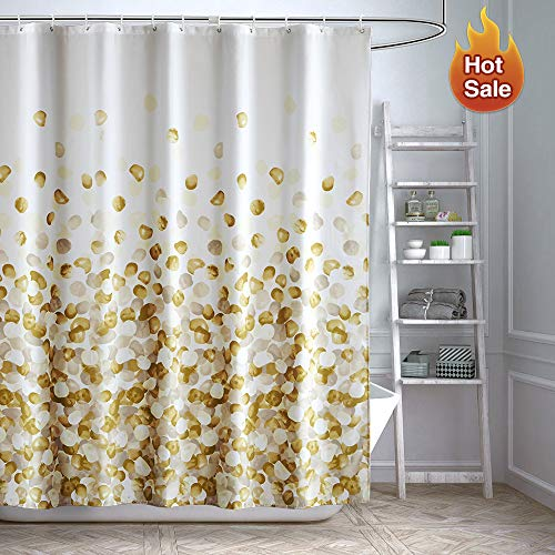 ARICHOMY Yellow Shower Curtain Set Bathroom Fabric Curtains Waterproof Golden Funny with Standard Size 72 by 72 (Gold) (Golden Yellow Curtains)