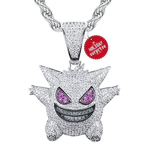 TSANLY ❤Christmas Day Gifts❤ Gengar Chain Necklace Pokemon Diamonds Necklace White Gold Plated with Killy Pendant Ice Out Hip Hop Medallion 24