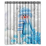 Bathroom Sets with Shower Curtain ZHANZZK Merry Christmas Cute Snowman Waterproof Polyester Shower Curtain 60x72 inches