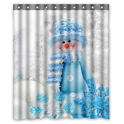 ZHANZZK Merry Christmas Cute Snowman Waterproof Polyester Shower Curtain 60x72 inches