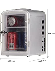 SMETA Small Refrigerator Office Cooler and Warmer 12V Caravan Truck Cooler Freightliner Cascadia Fridge,4.5L,AC/DC