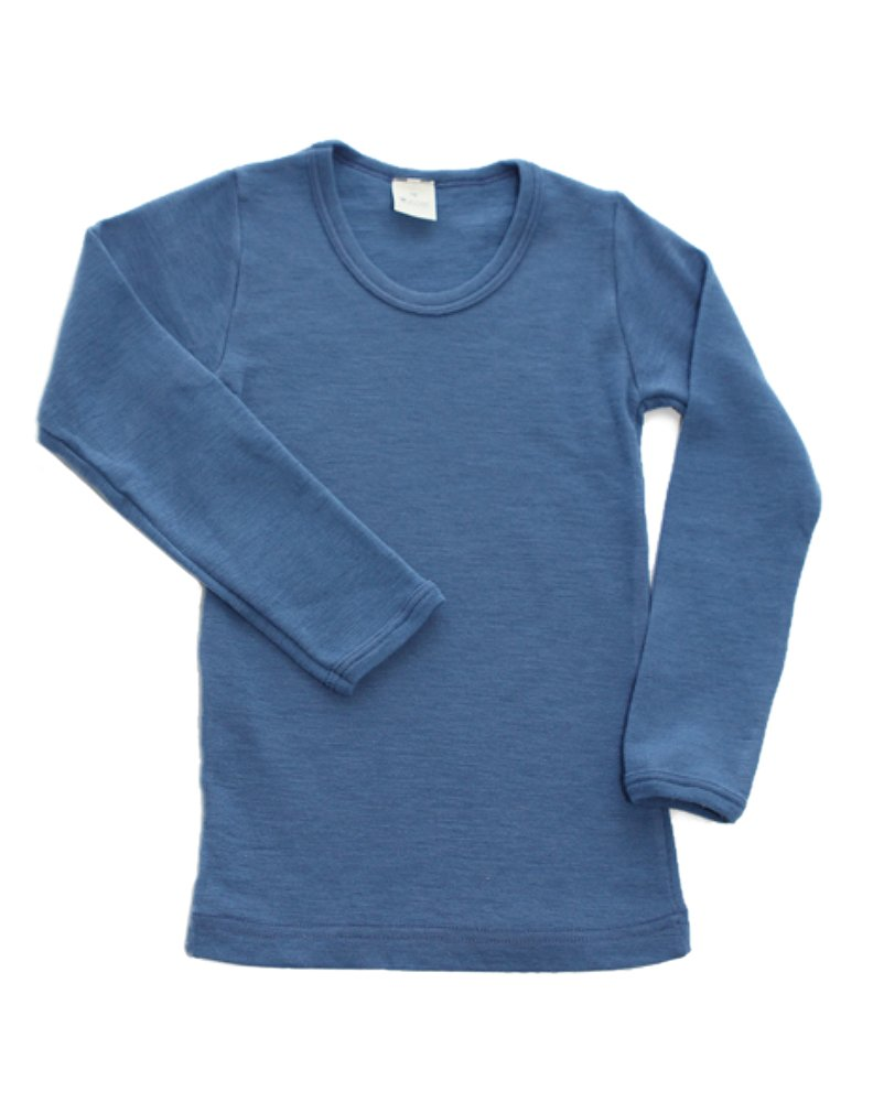 Hocosa of Switzerland Little Kids Organic Wool Long-Sleeved Undershirt, Solid Blue, s. 92/2 yr by Hocosa of Switzerland