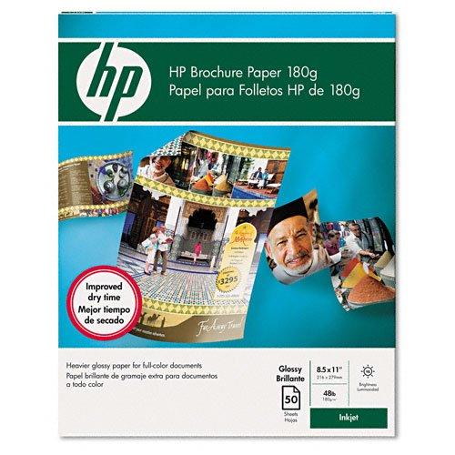 HP : Inkjet Brochure Paper, Letter, Bright White, 50 Sheets per Pack -:- Sold as 2 Packs of - 50 - / - Total of 100 (Hp Inkjet Brochure Paper)