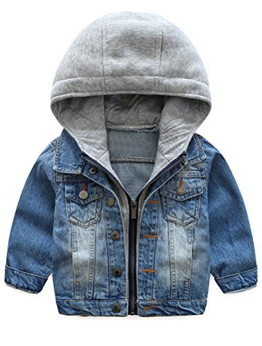 Abolai Baby Boys' Basic Denim Jacket Hoodie Button Down Jeans Jacket Top Style2 Blue ()