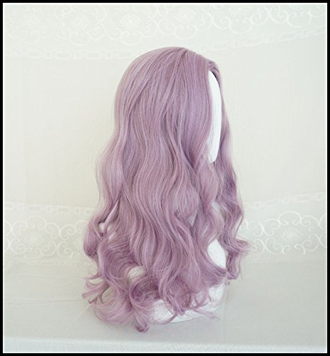 Generic Water Dance girls dream purple wig simulation scalp fringe of long curly hair and long hair fluffy big wave sets by Generic (Image #2)