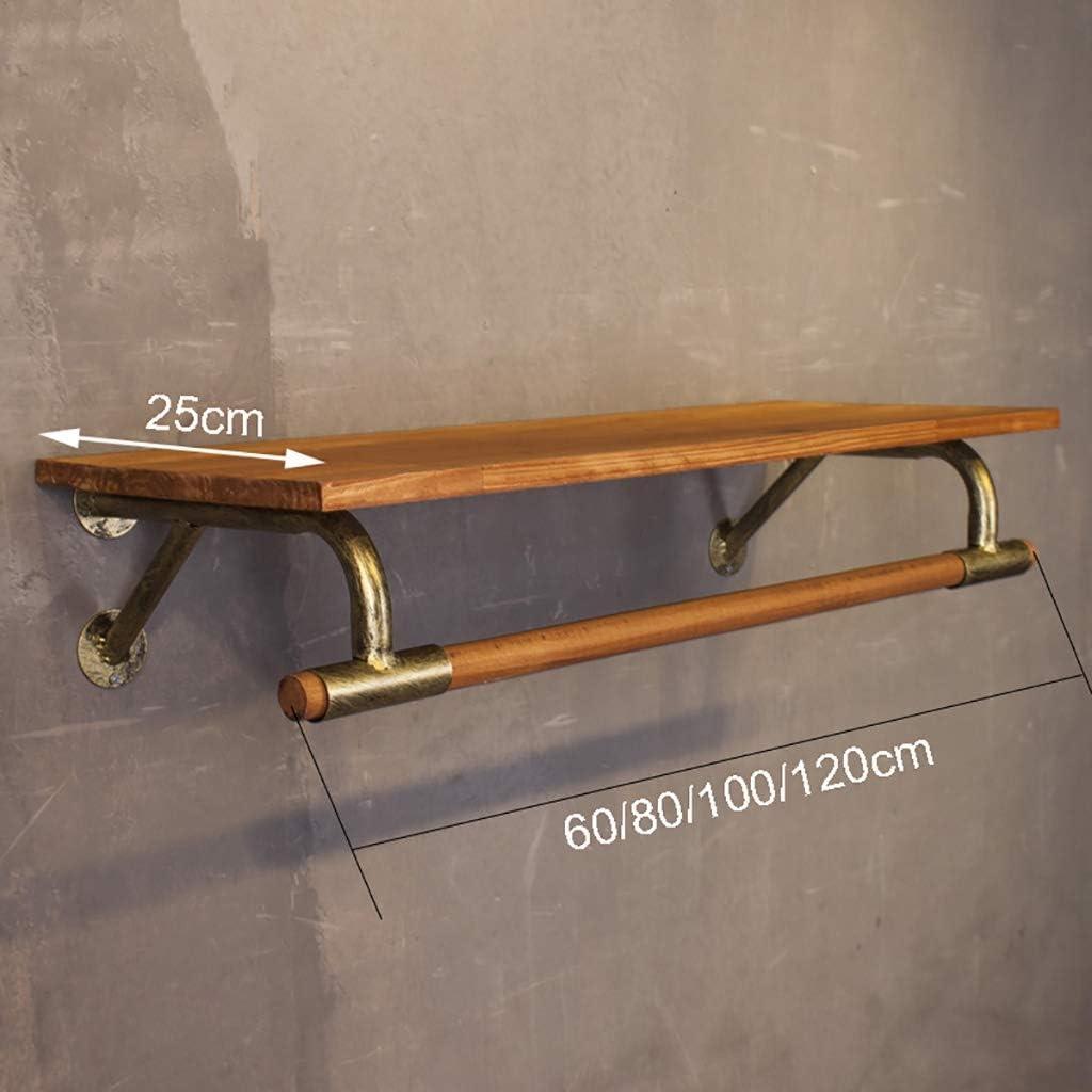 Bastone appendiabiti Size : 60*25cm Abbigliamento manuale mensola di esposizione Golden Ferro Base Parete labbigliamento Appendiabiti con mensola in legno for Negozio di abbigliamento